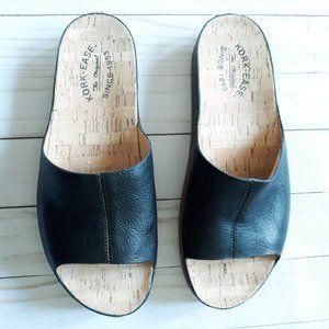 Kork Ease Tutsi Black Leather Slides Sandals Sz 10